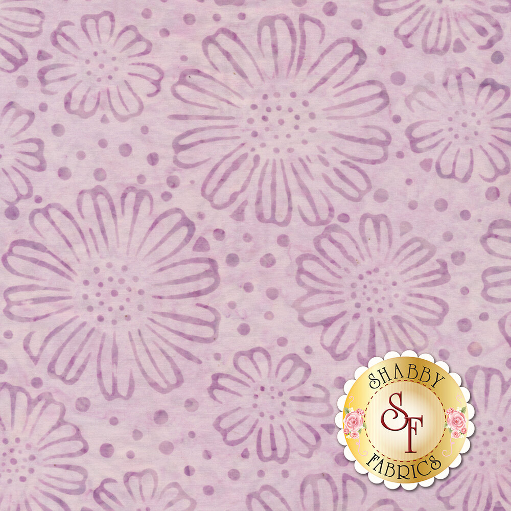 Tonal flowers and dots on mottled light purple | Shabby Fabrics