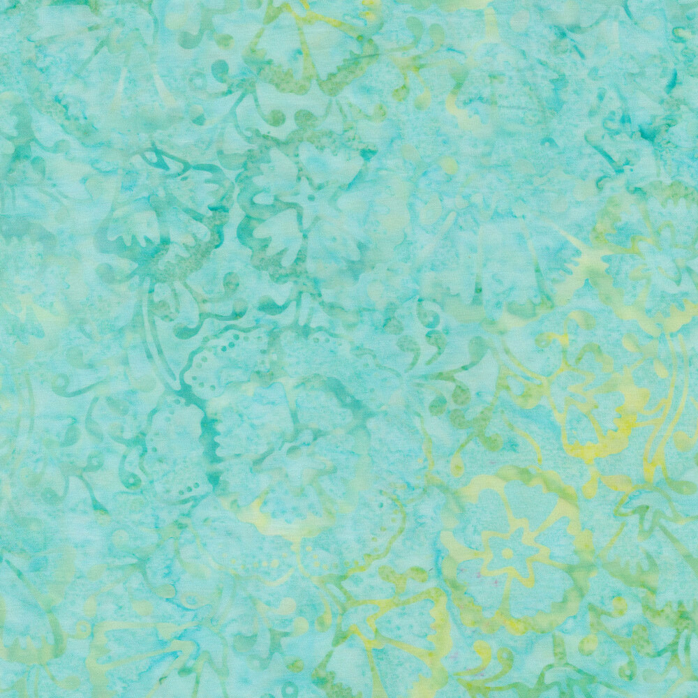 Green and yellow florals on a mottled aqua | Shabby Fabrics