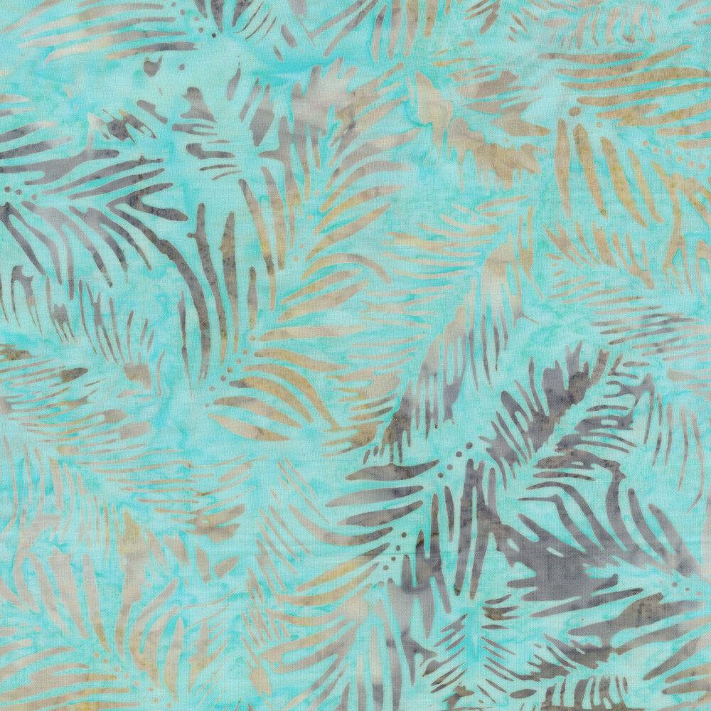 Fern bristles on aqua batik | Shabby Fabrics