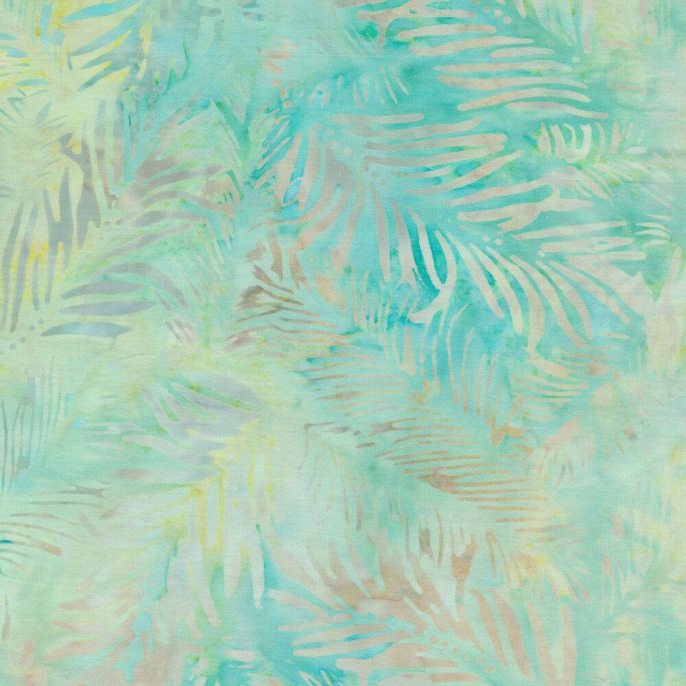 Fern bristles on aqua and yellow batik | Shabby Fabrics