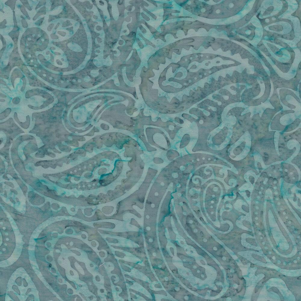 Aqua and gray toned paisley batik | Shabby Fabrics
