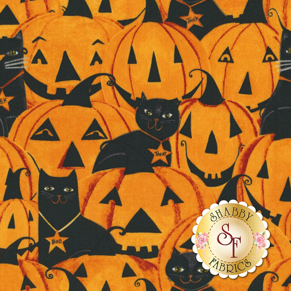 Orange pumpkins and black cats | Shabby Fabrics