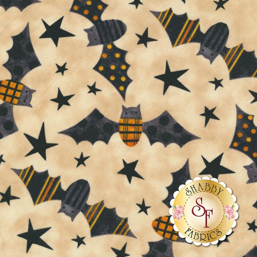 Bats and stars on mottled cream | Shabby Fabrics