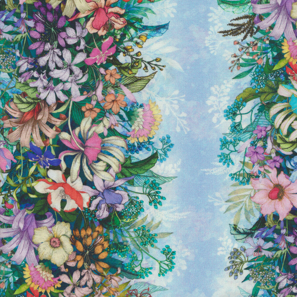 Alternating light blue stripes with floral bunches | Shabby Fabrics