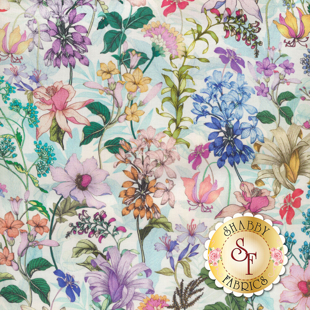 Colorful delicate flowers on a white background | Shabby Fabrics