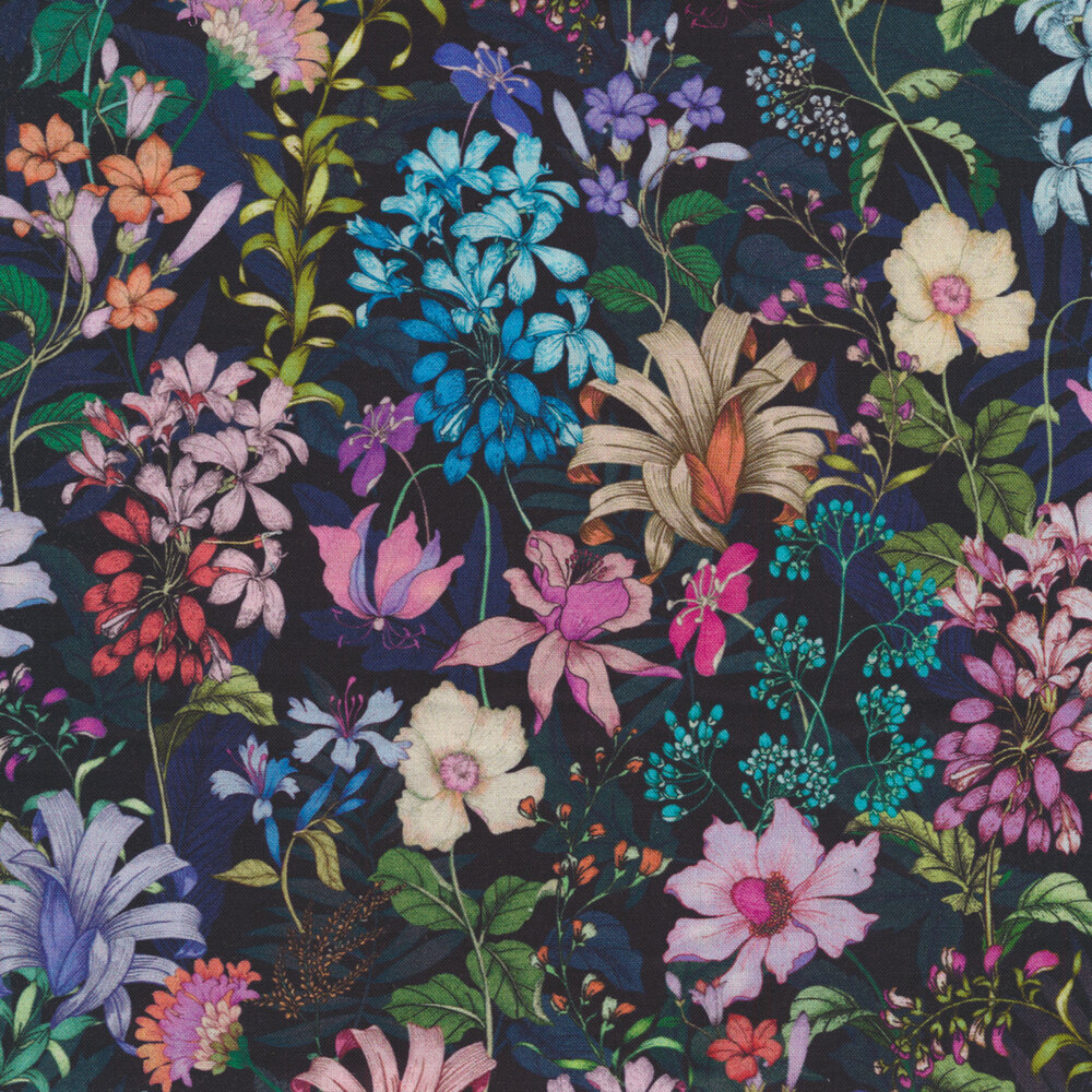 Colorful delicate flowers on a black background | Shabby Fabrics