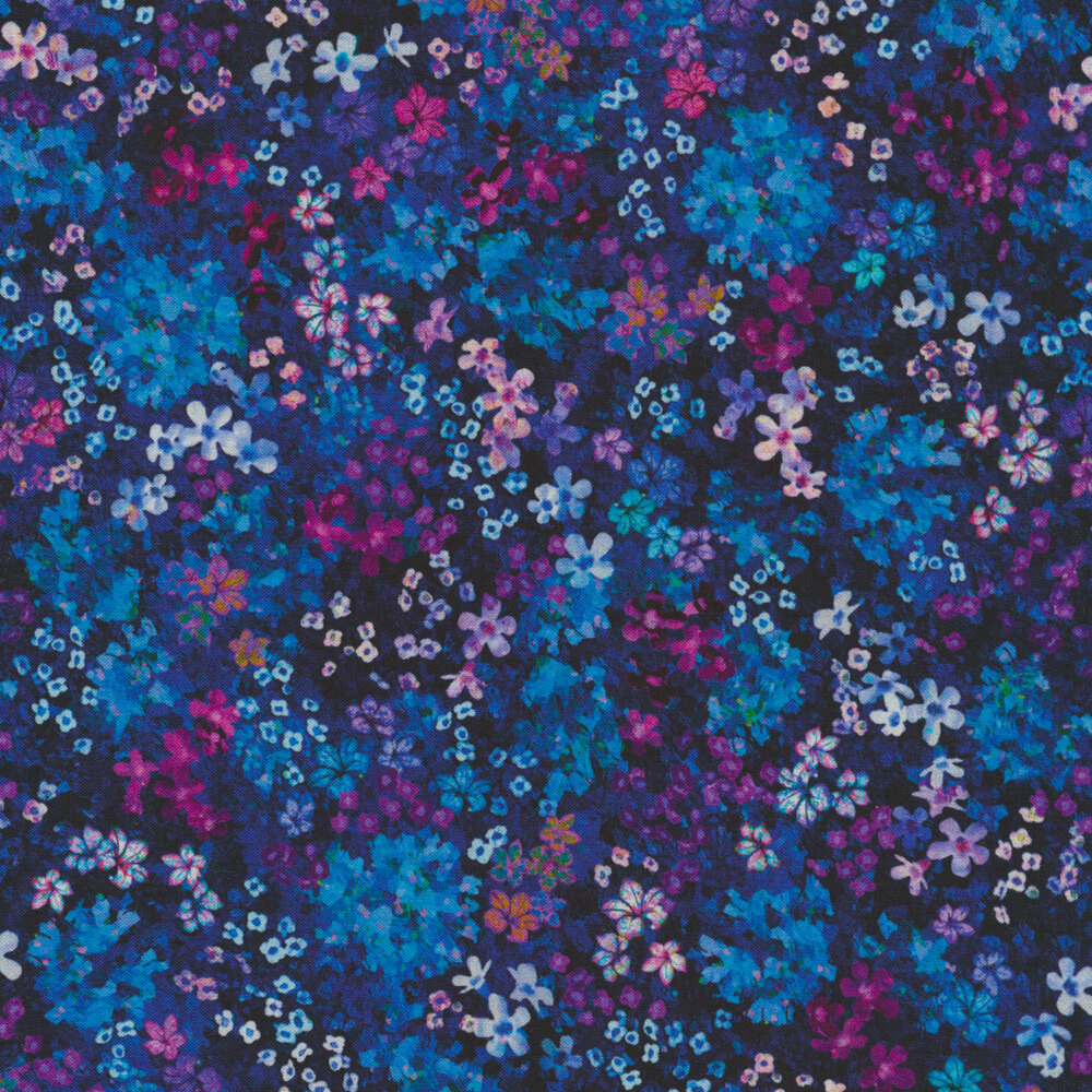 Clusters of small colorful flowers on a dark blue background | Shabby Fabrics