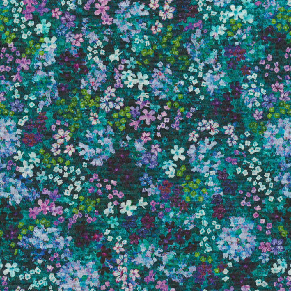 Clusters of small colorful flowers on a dark teal background   Shabby Fabrics