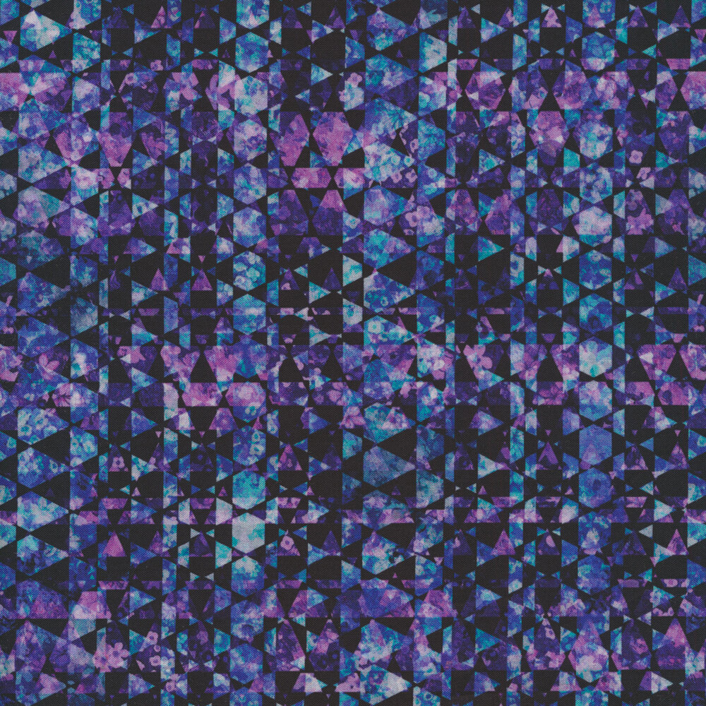 Alternating black and multi colored pink and blue triangles | Shabby Fabrics