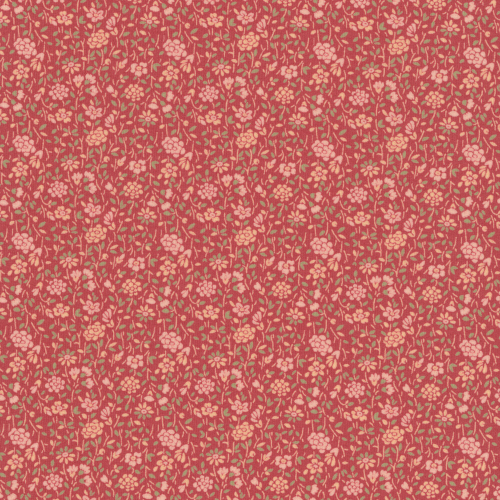 Small pink flowers with green leaves all over red | Shabby Fabrics
