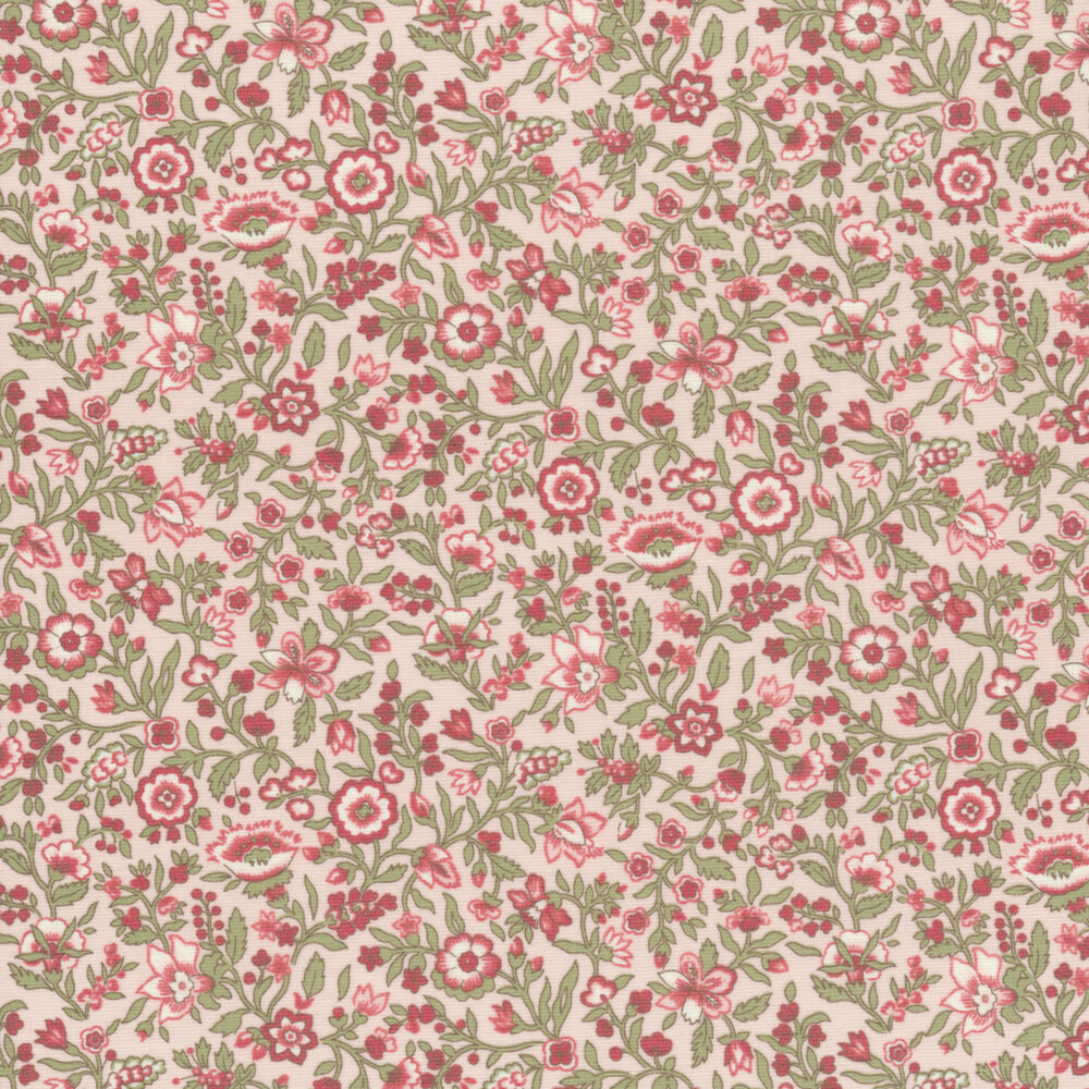 Red flowers with green leaves all over pink   Shabby Fabrics