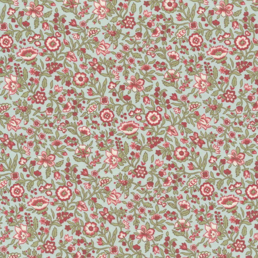 Red and pink flowers all over aqua | Shabby Fabrics