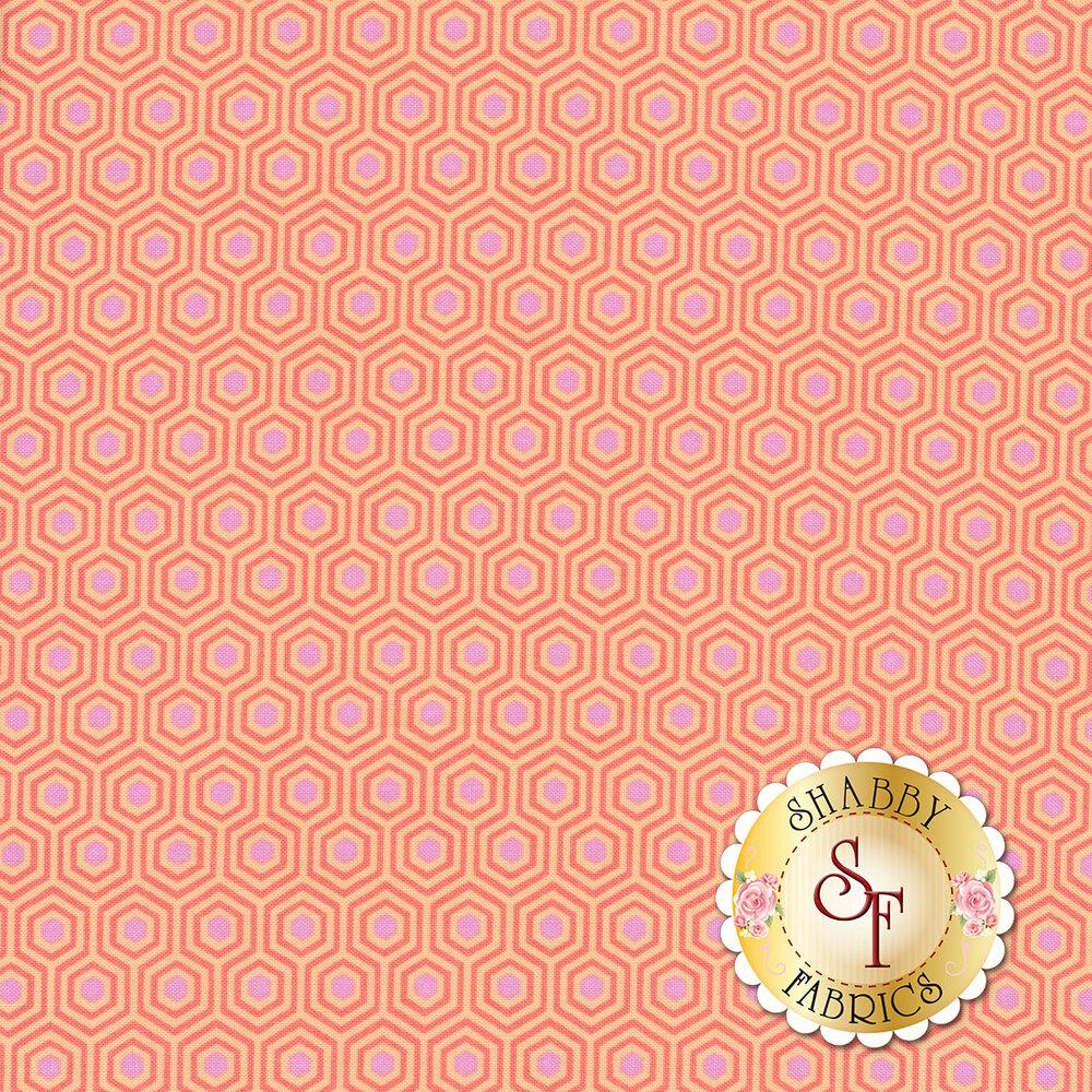 Peach hexagons with pink centers   Shabby Fabrics