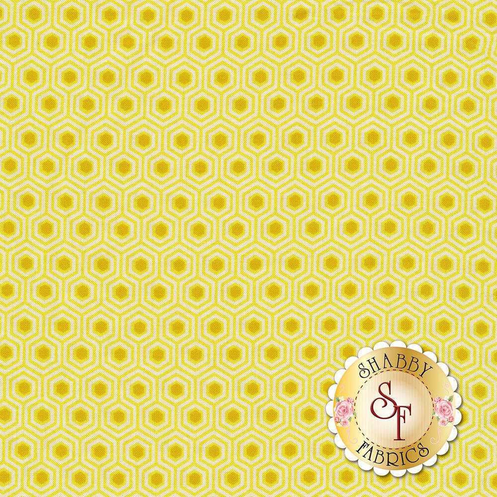 Yellow hexagons with dark yellow centers | Shabby Fabrics
