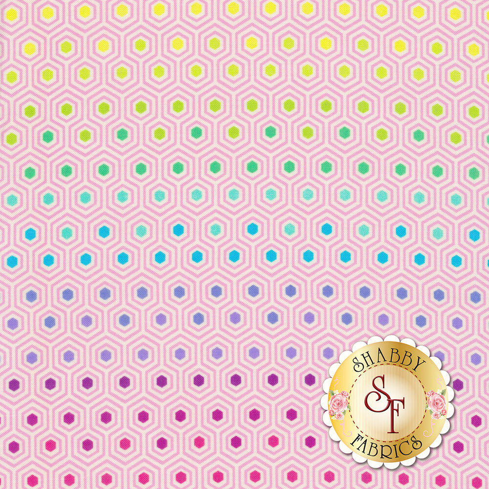 Aqua hexagons with rainbow centers | Shabby Fabrics