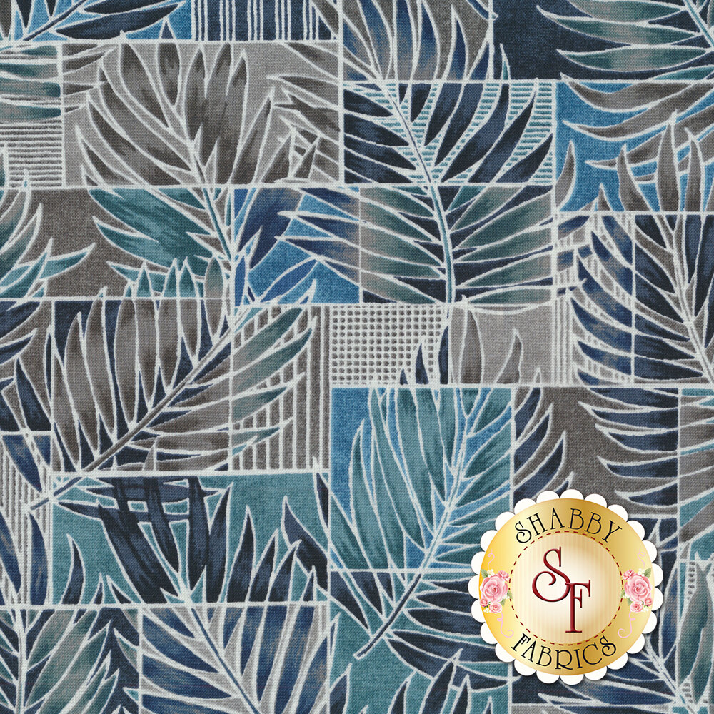Blue and teal ferns all over blue and gray tiles | Shabby Fabrics
