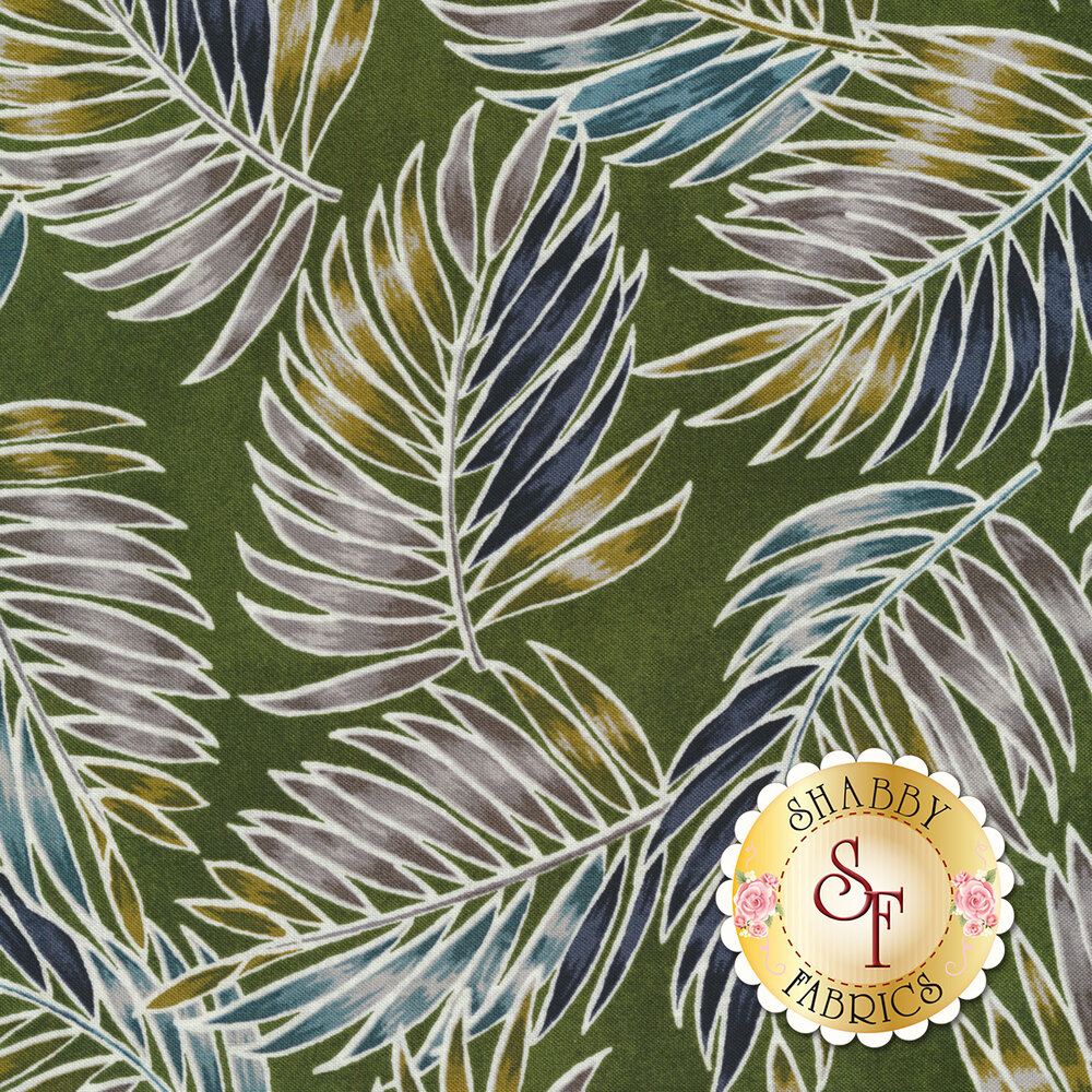 Blue, gray, and green ferns all over green | Shabby Fabrics