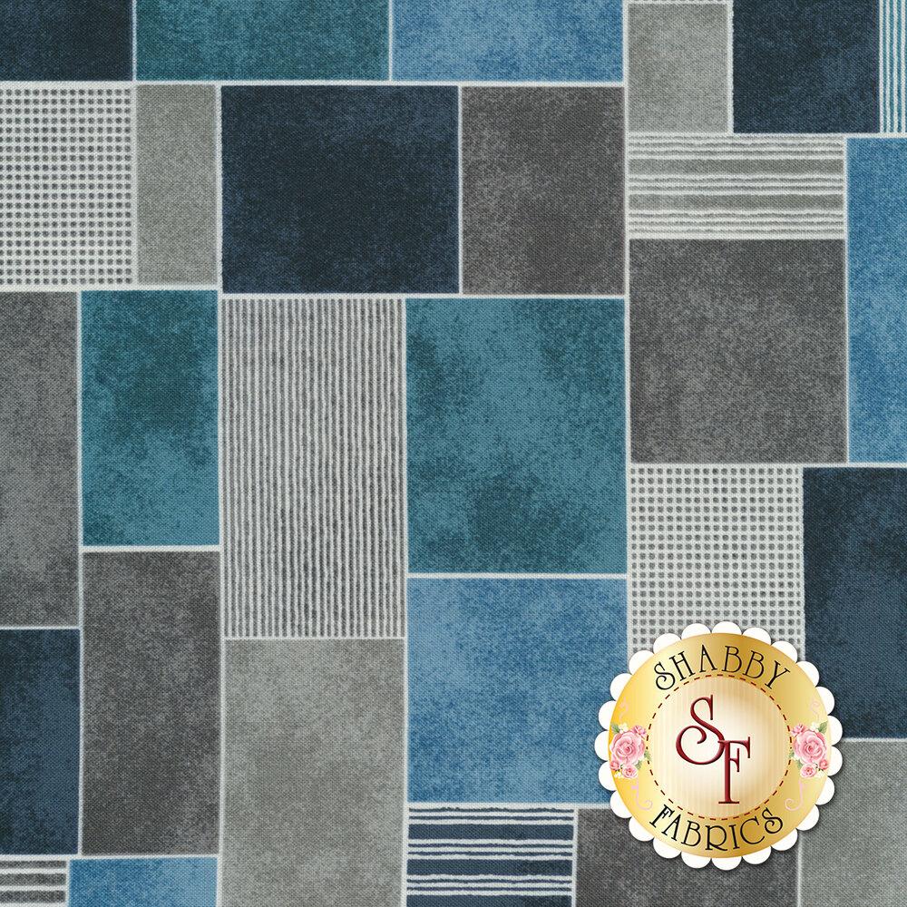 Blue and gray tiles | Shabby Fabrics