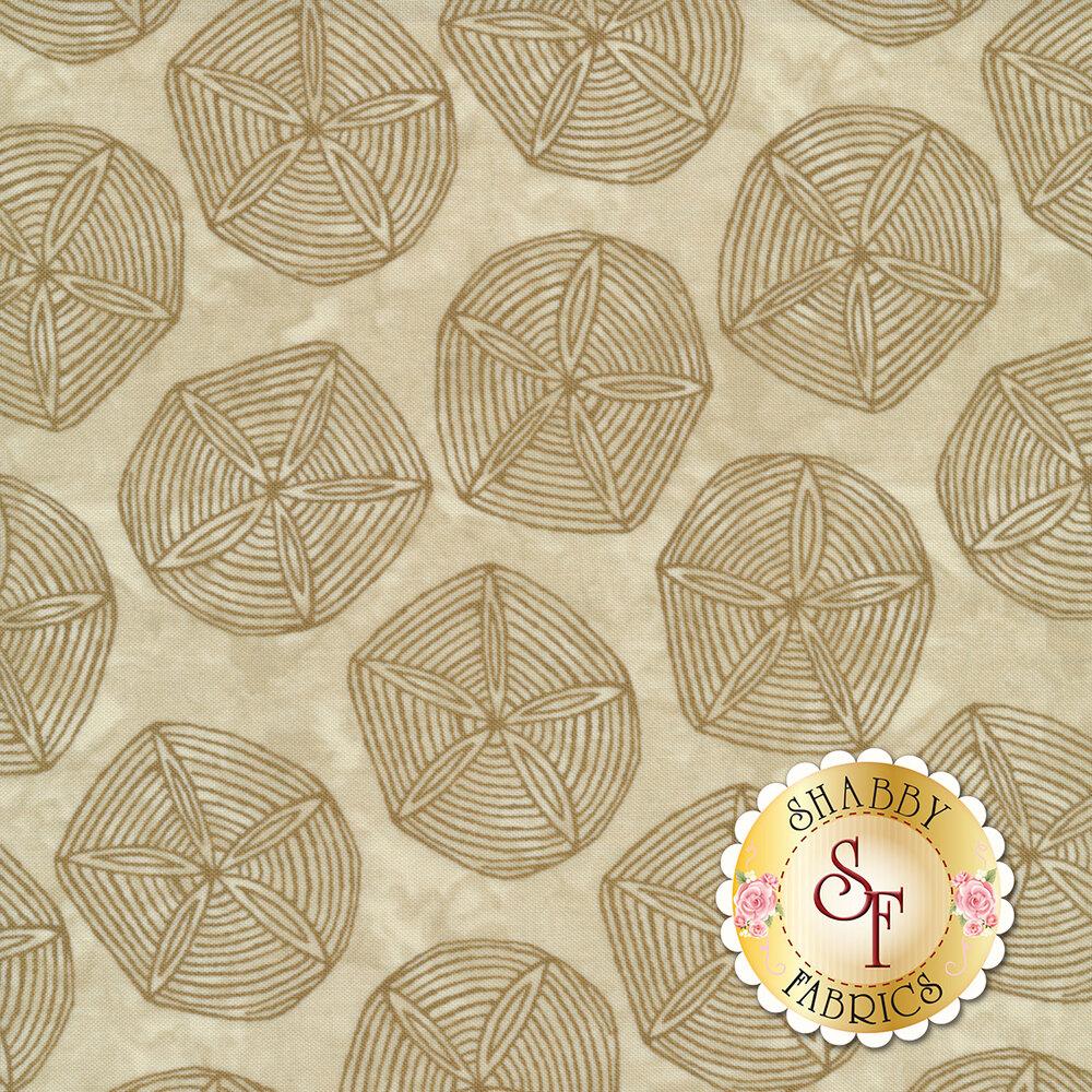Tonal sand dollars on mottled tan | Shabby Fabrics