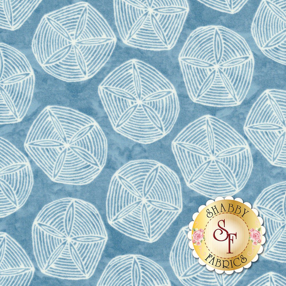 White sand dollars on mottled teal | Shabby Fabrics