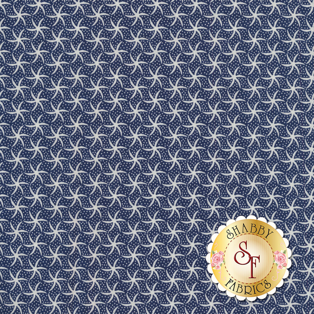 Small white starfish and dots all over blue | Shabby Fabrics