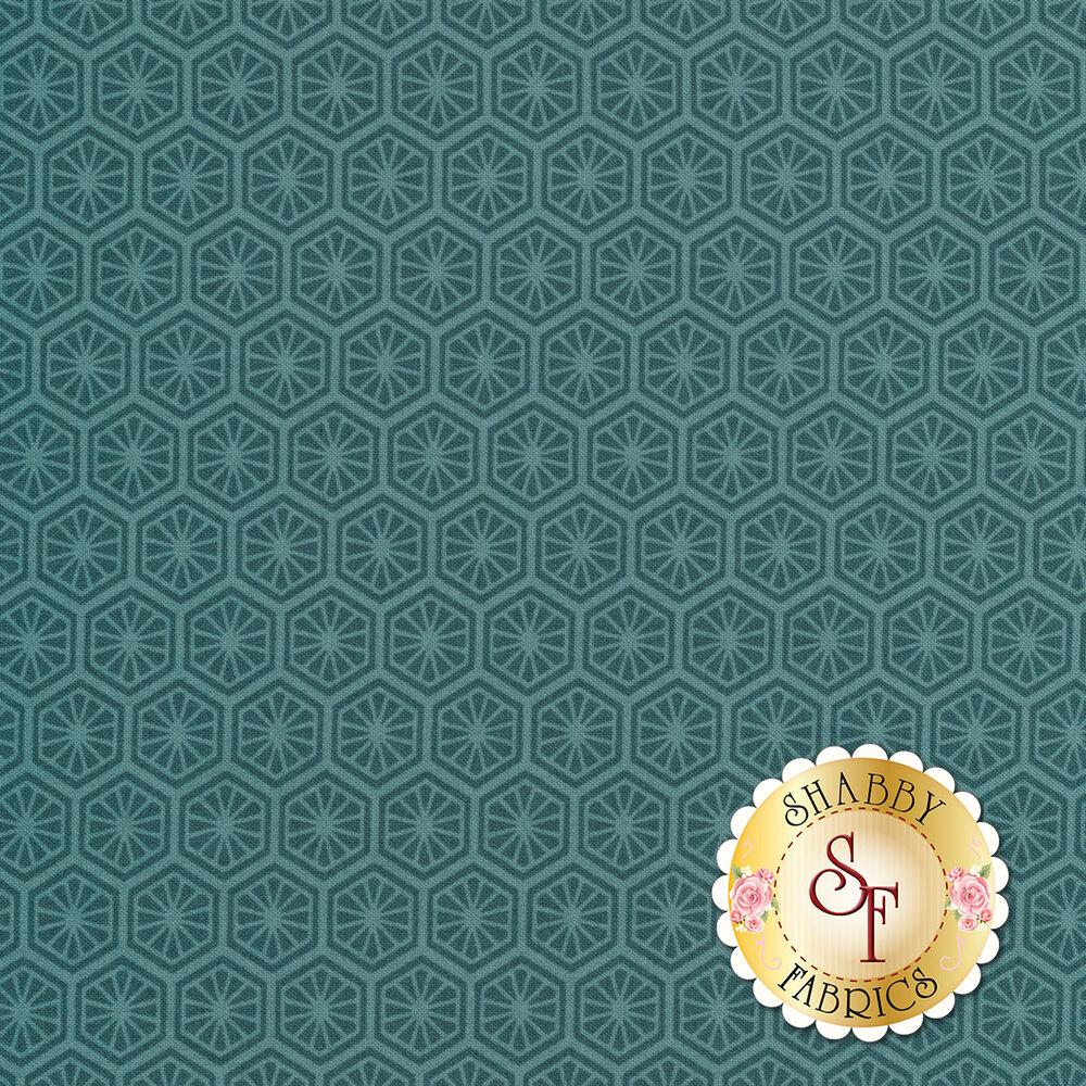 Tonal teal hexagon design | Shabby Fabrics