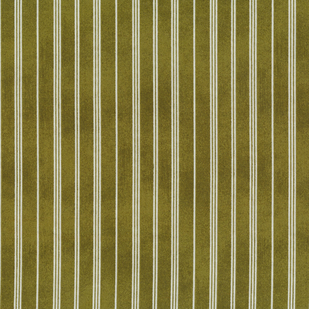 Green and white striped fabric | Shabby Fabrics