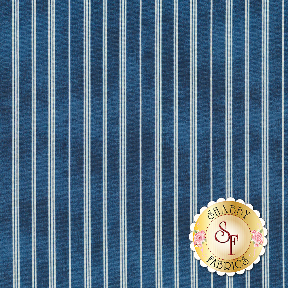Blue and white striped fabric | Shabby Fabrics