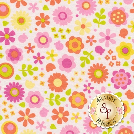 Under The Sea C5961-PINK Flowers Pink by Doodlebug Design inc. for Riley Blake Designs