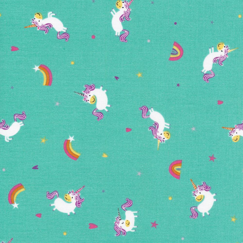 Tossed unicorns and shooting stars on teal   Shabby Fabrics