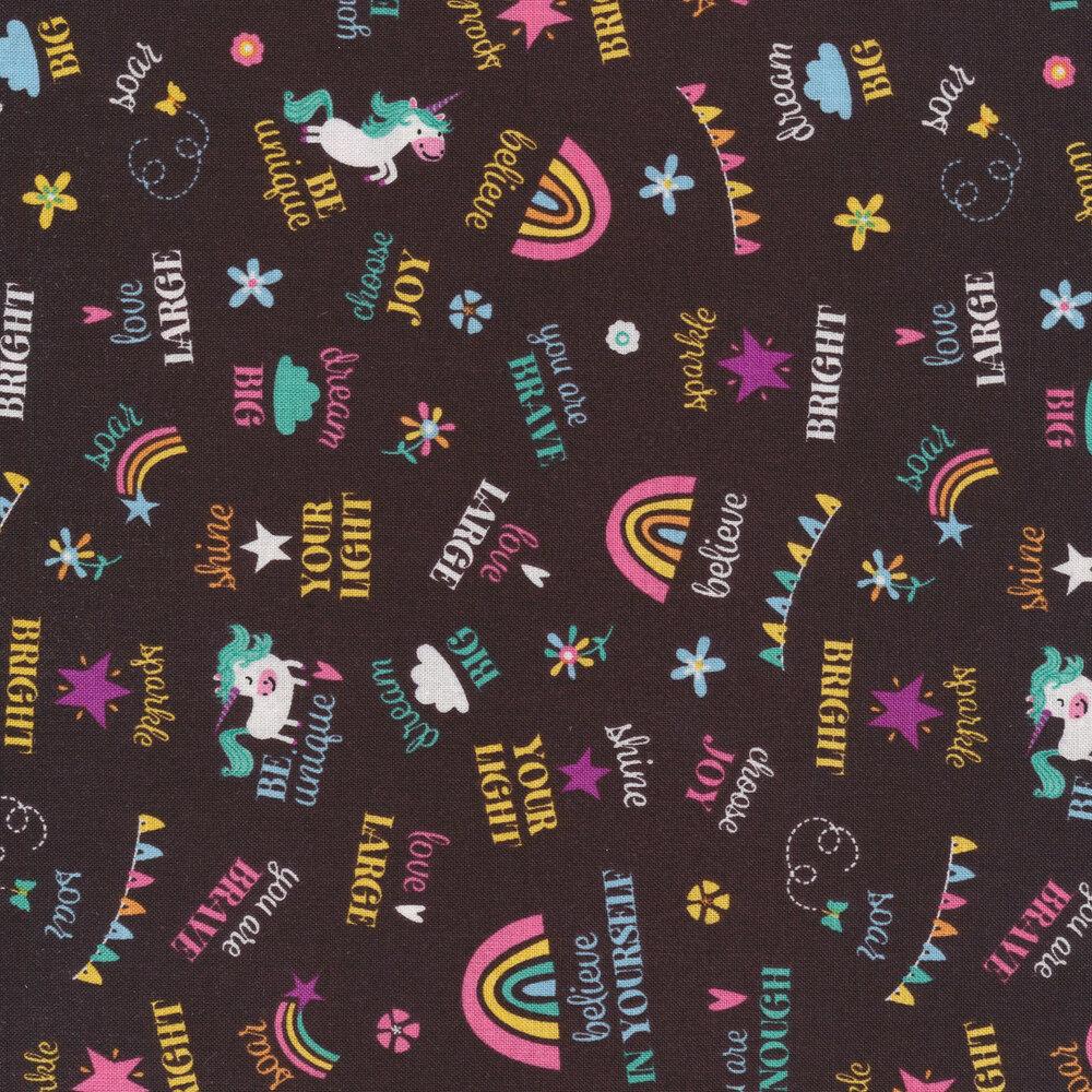 Tossed words, unicorns, and rainbows on grey | Shabby Fabrics