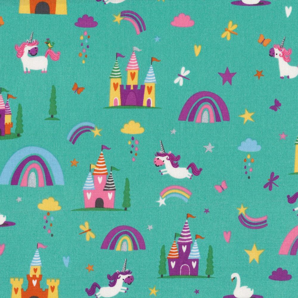 Unicorns, rainbows, and castles on teal   Shabby Fabrics