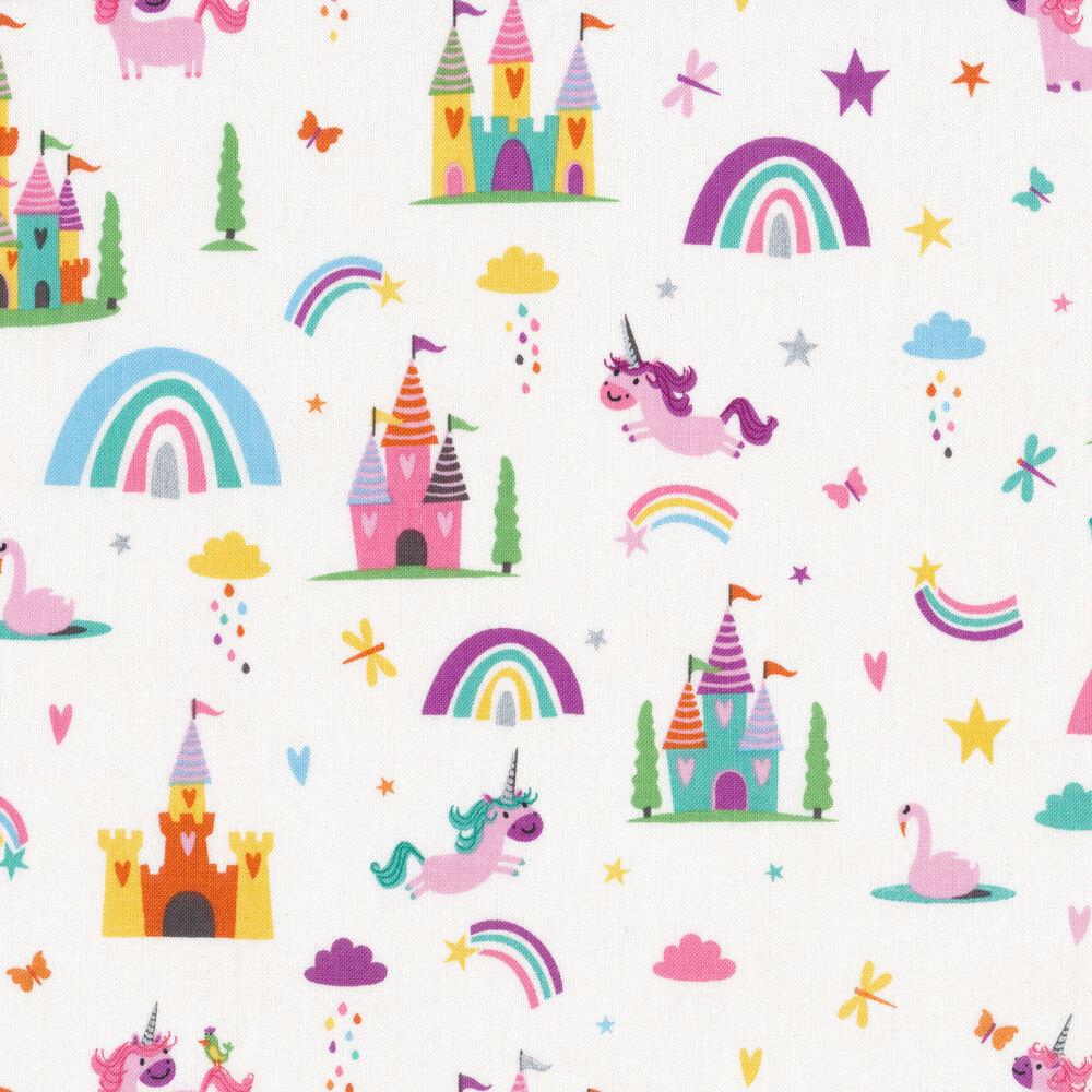 Unicorns, rainbows, and castles on white   Shabby Fabrics