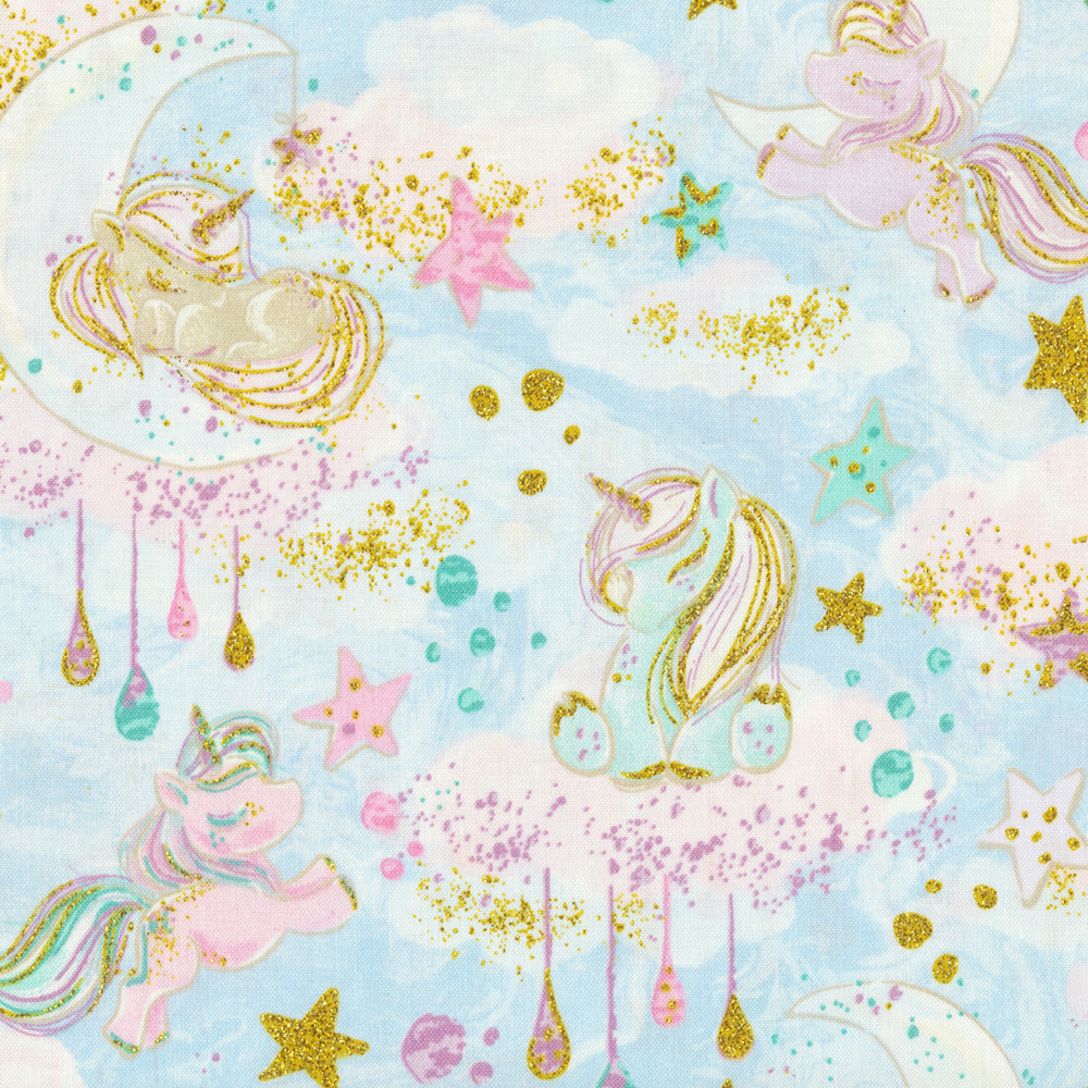 Unicorns and stars on a light blue background | Shabby Fabrics