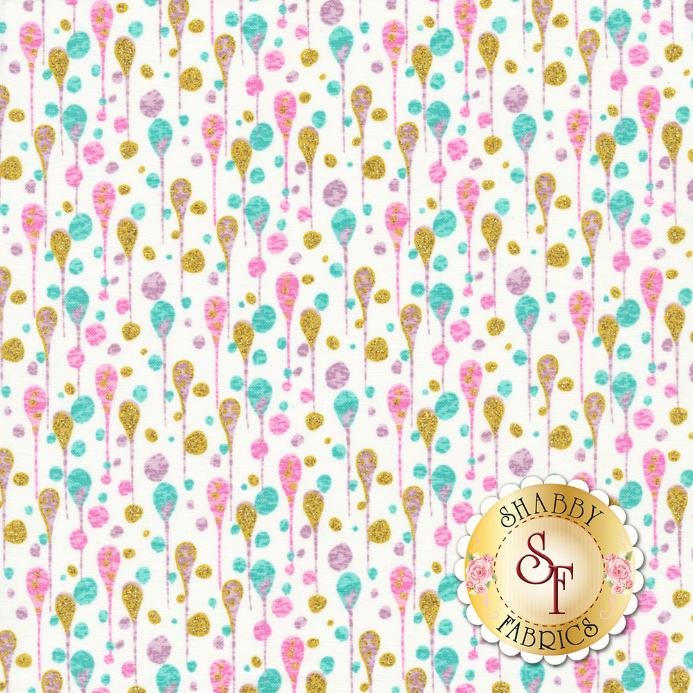 Multicolored glittery droplets/dots all over a white background | Shabby Fabrics