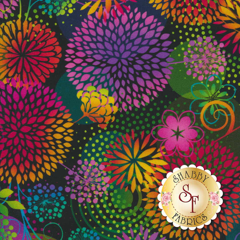 Multicolored large flowers all over black | Shabby Fabrics