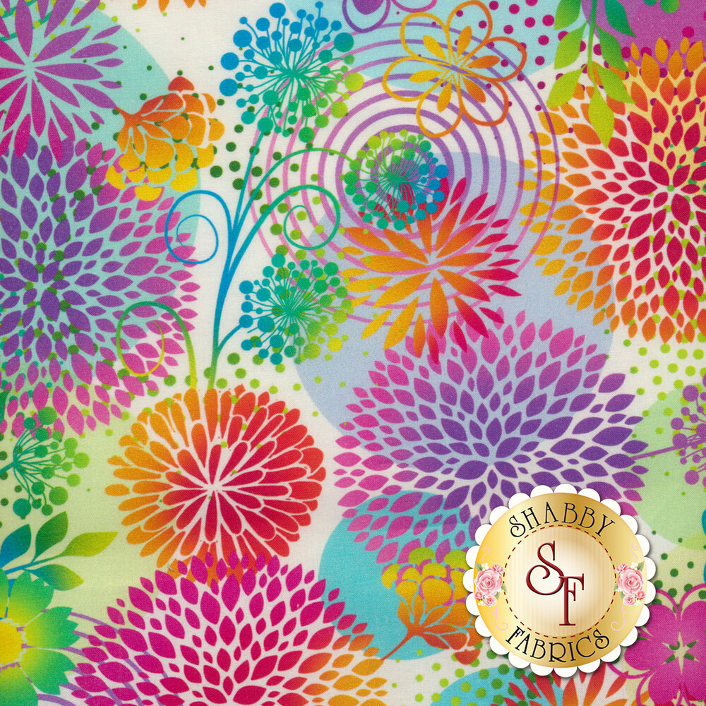 Multicolored large flowers all over white | Shabby Fabrics