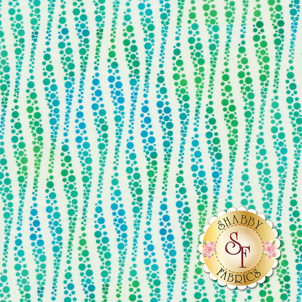 Blue and green bubbles in wavy stripe design on white | Shabby Fabrics