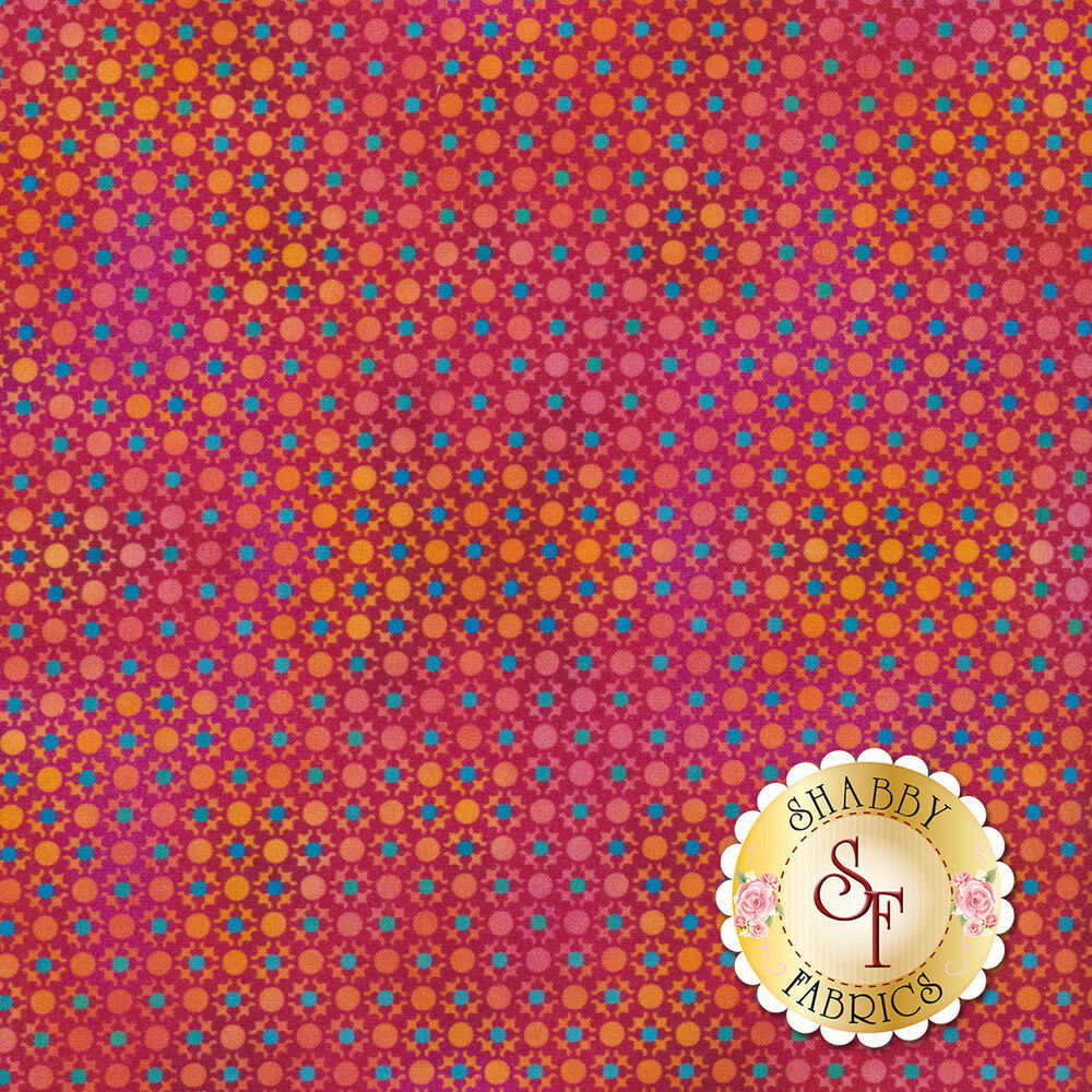 Blue dots all over pink/red design | Shabby Fabrics