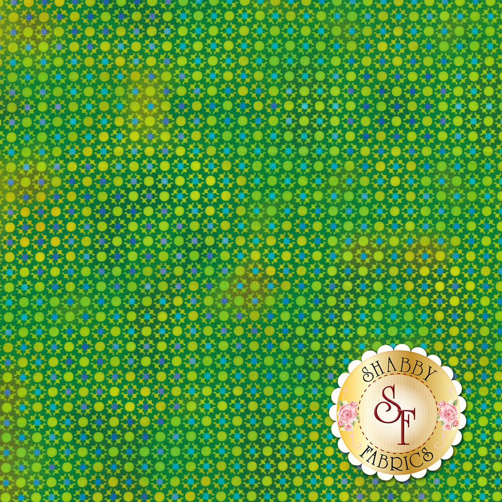 Blue dots all over tonal green design | Shabby Fabrics