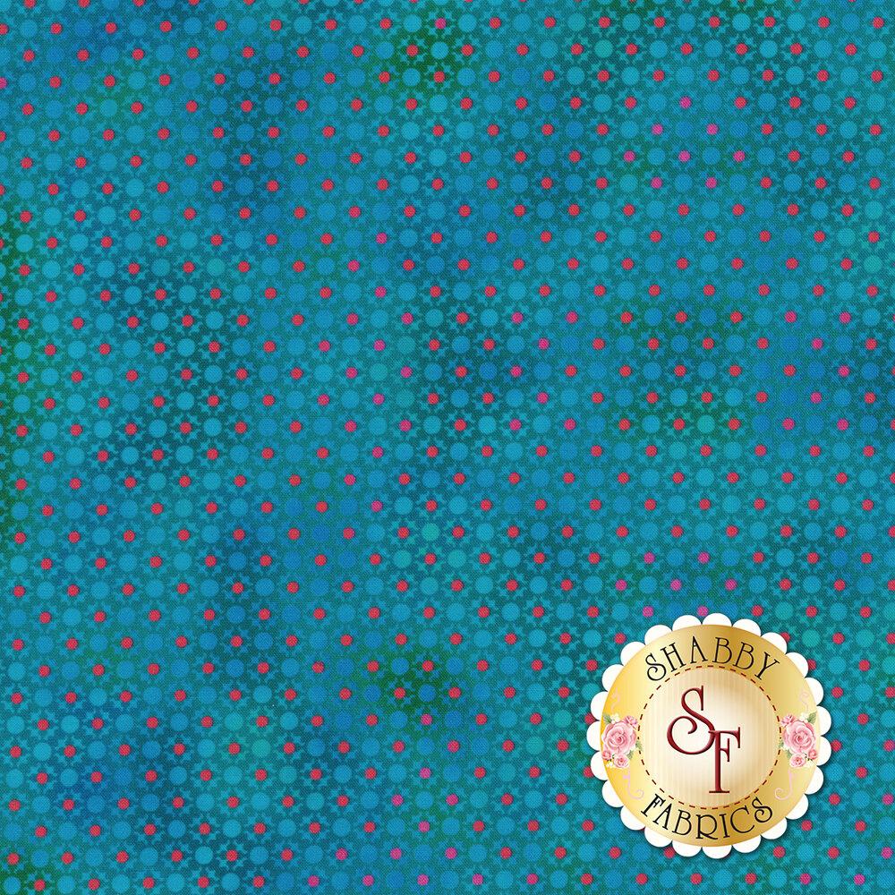 Red dots all over tonal blue design | Shabby Fabrics