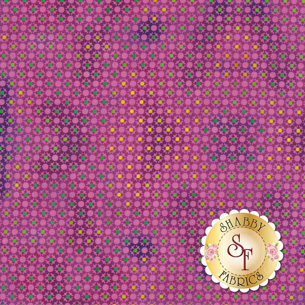 Yellow and green dots all over tonal purple design | Shabby Fabrics