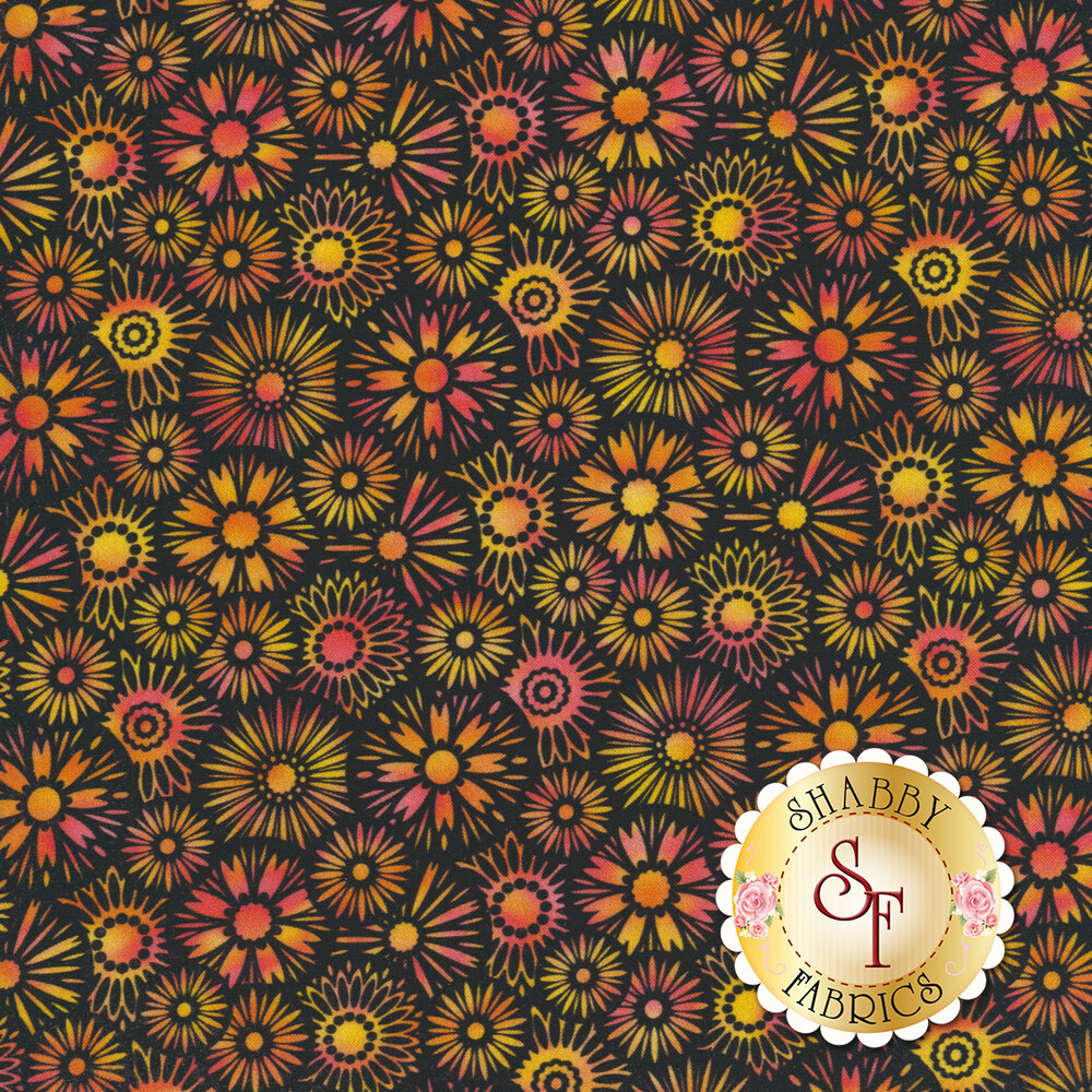 Overlapping black and orange blooms all over black | Shabby Fabrics