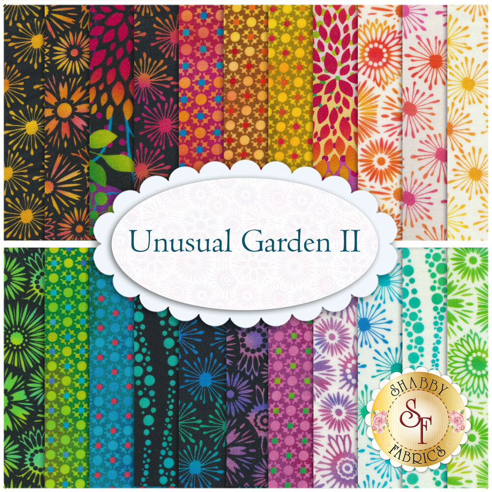 Collage of fabrics included in Unusual Garden II collection | Shabby Fabrics