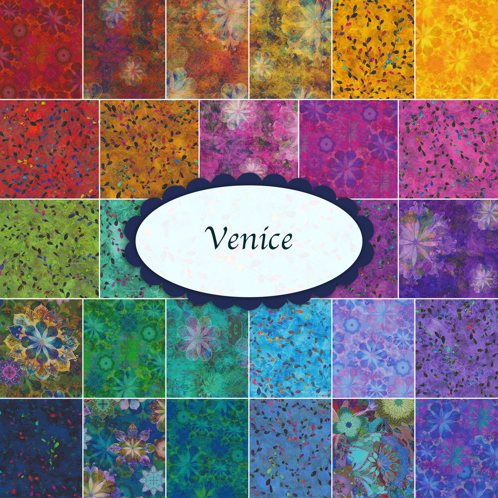 A collage of fabrics included in the Venice FQ Set