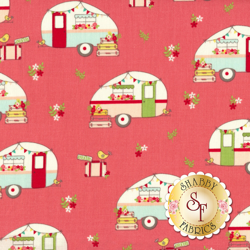 Vintage Adventure C7271-PINK Camper Pink by Riley Blake Designs