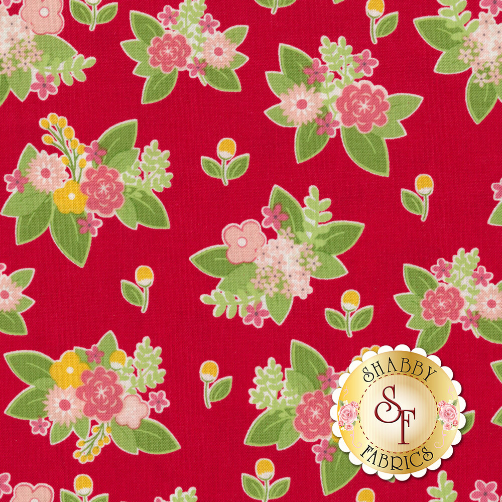 Vintage Adventure C7274-RED Floral Red by Riley Blake Designs REM