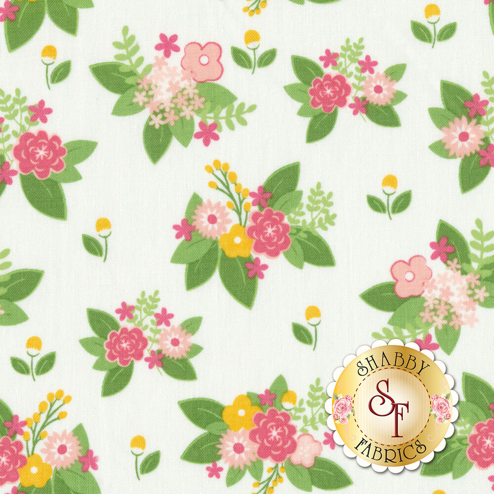 Vintage Adventure C7274-WHITE Floral White by Riley Blake Designs