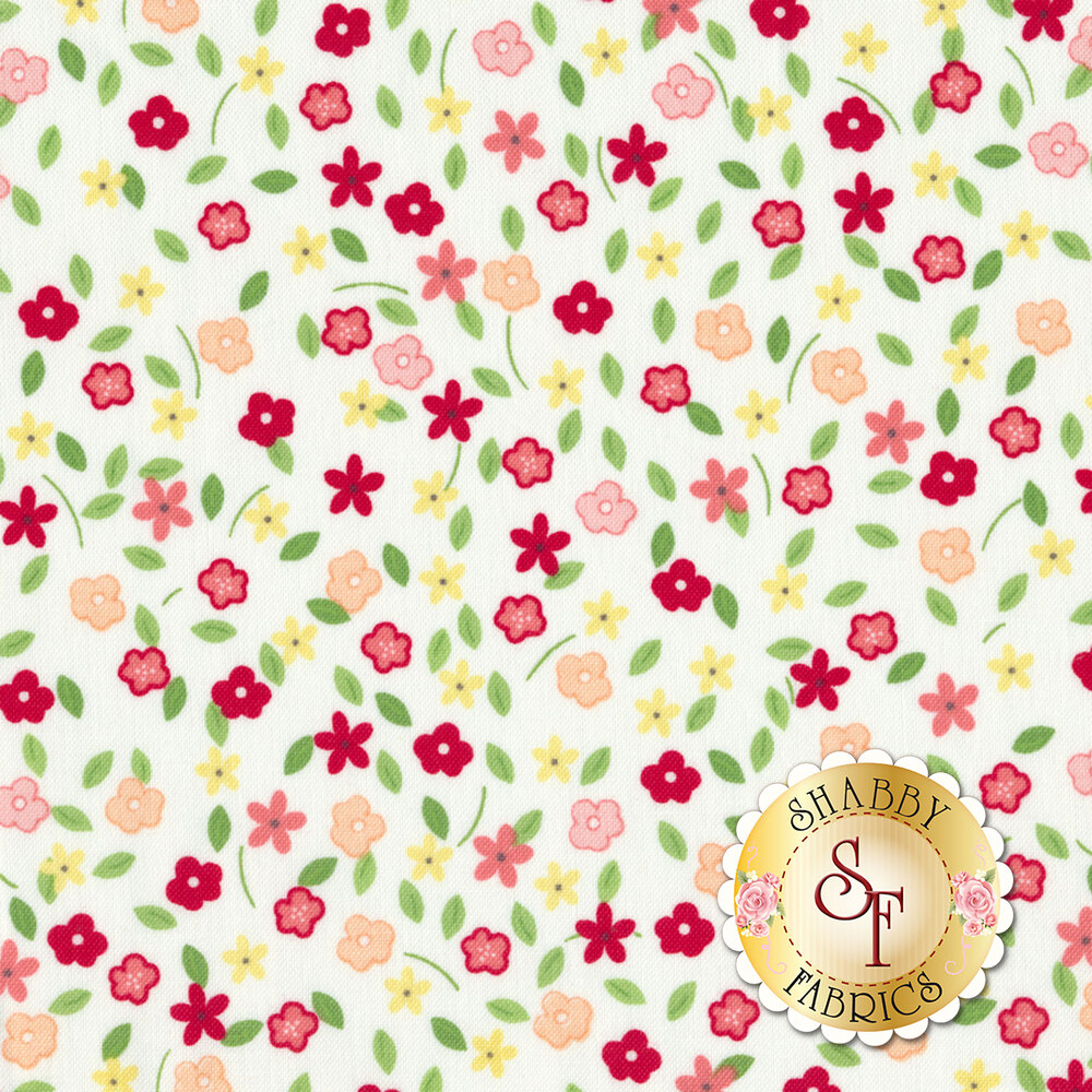 Vintage Adventure C7275-WHITE Tiny Floral White by Riley Blake Designs
