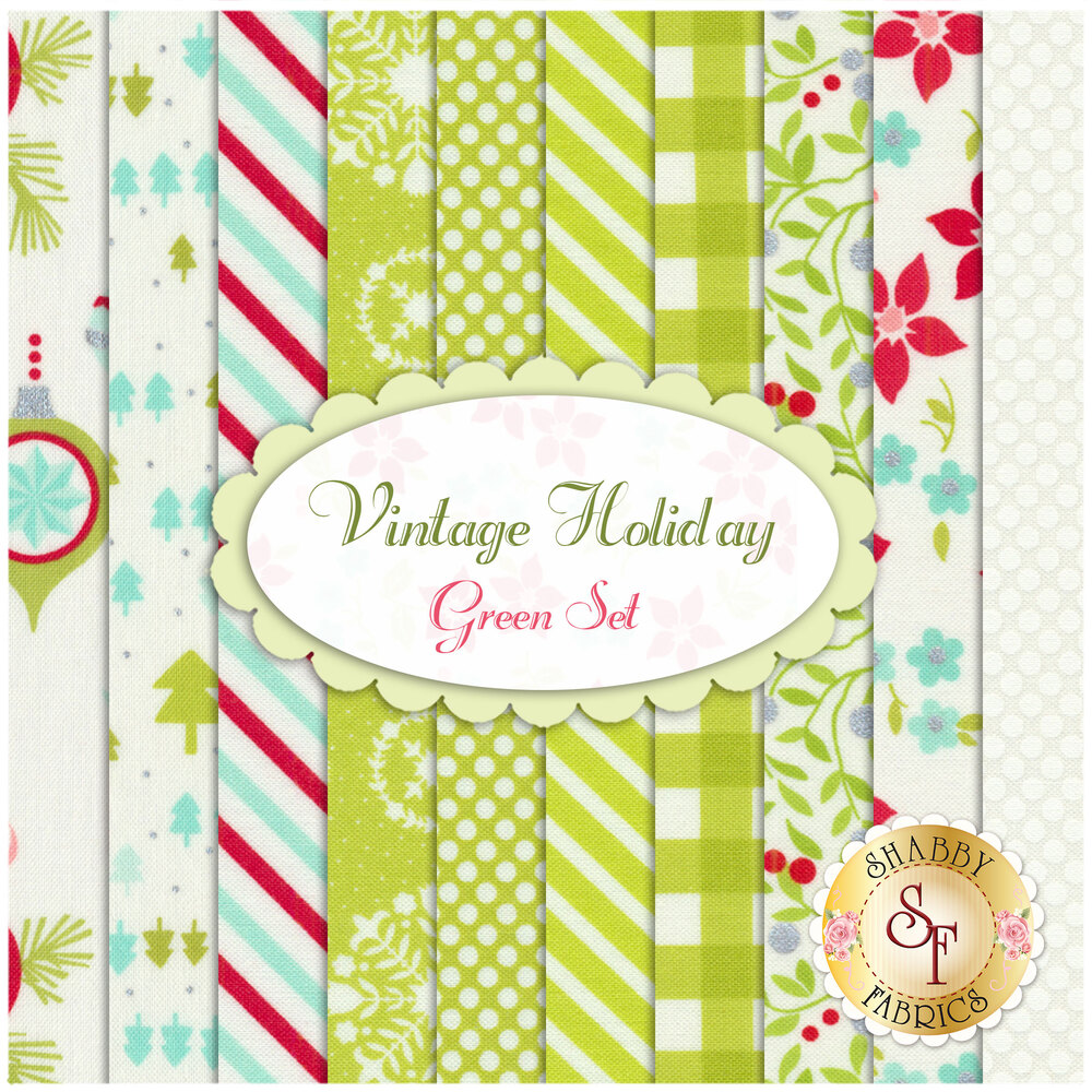 Vintage Holiday  10 FQ Set - Green Set by Bonnie & Camille for Moda Fabrics